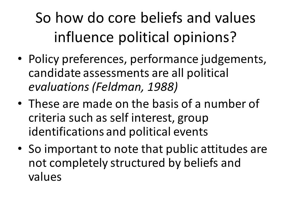 So how do core beliefs and values influence political opinions