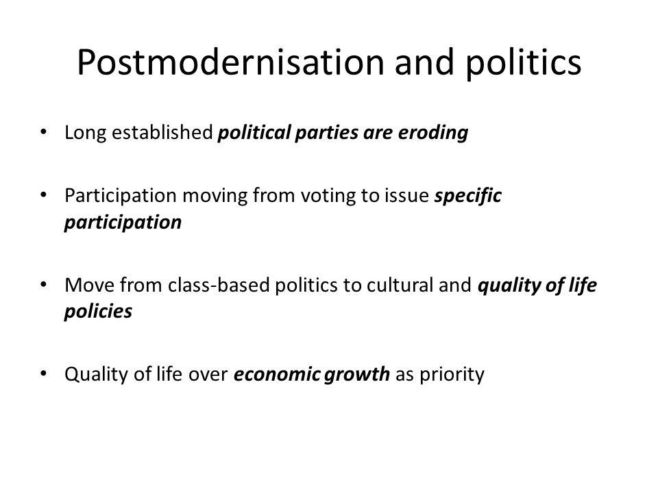 Postmodernisation and politics