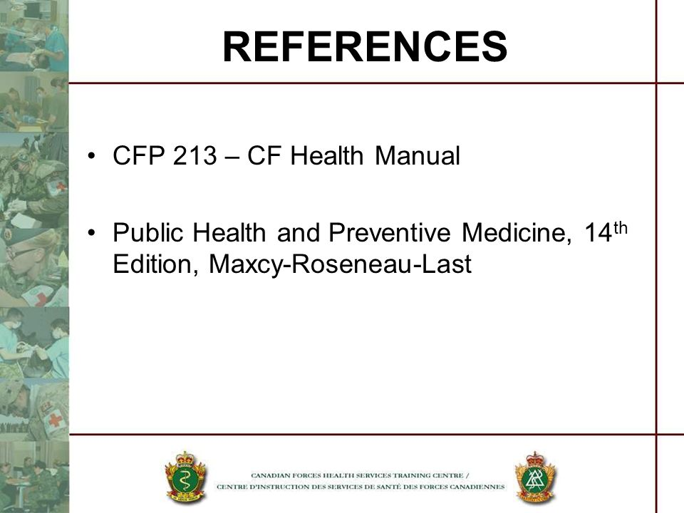 REFERENCES CFP 213 – CF Health Manual