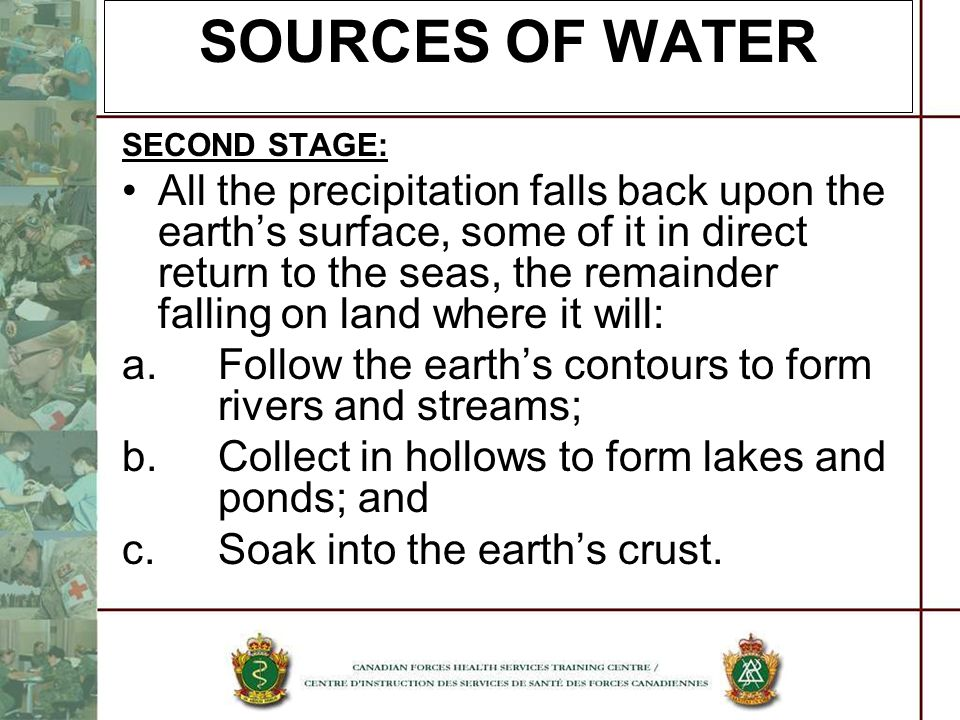SOURCES OF WATER SECOND STAGE: