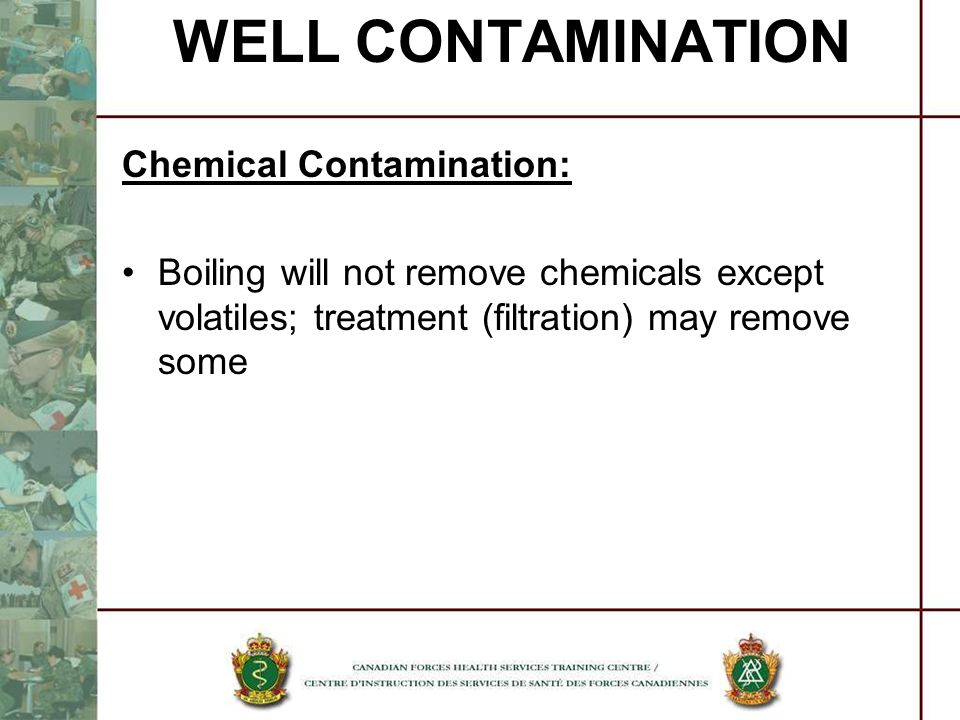 WELL CONTAMINATION Chemical Contamination: