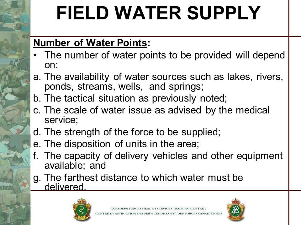 FIELD WATER SUPPLY Number of Water Points: