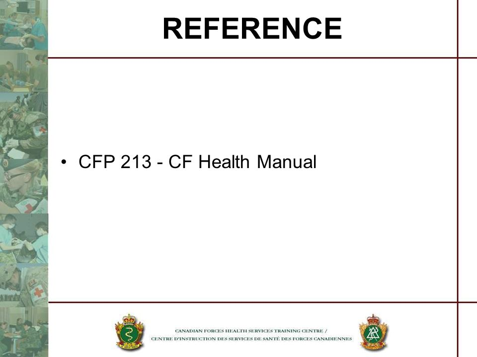 REFERENCE CFP 213 - CF Health Manual