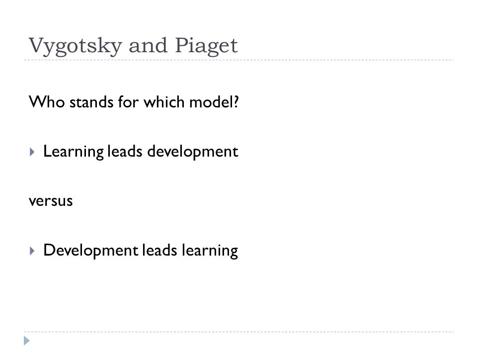 Vygotsky and Piaget Who stands for which model