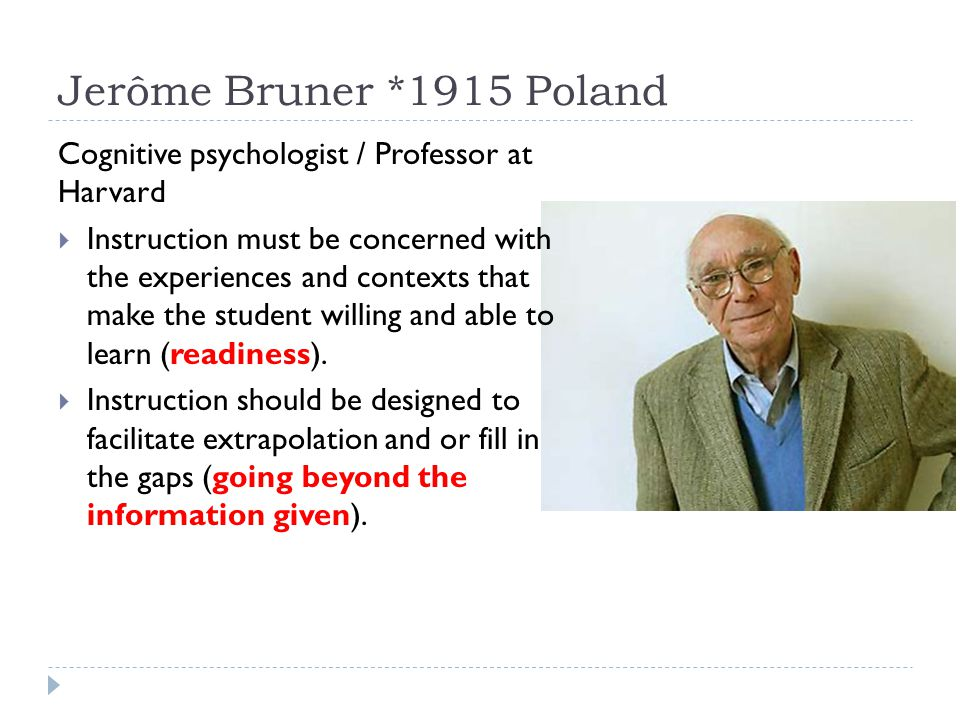 Jerôme Bruner *1915 Poland Cognitive psychologist / Professor at Harvard.
