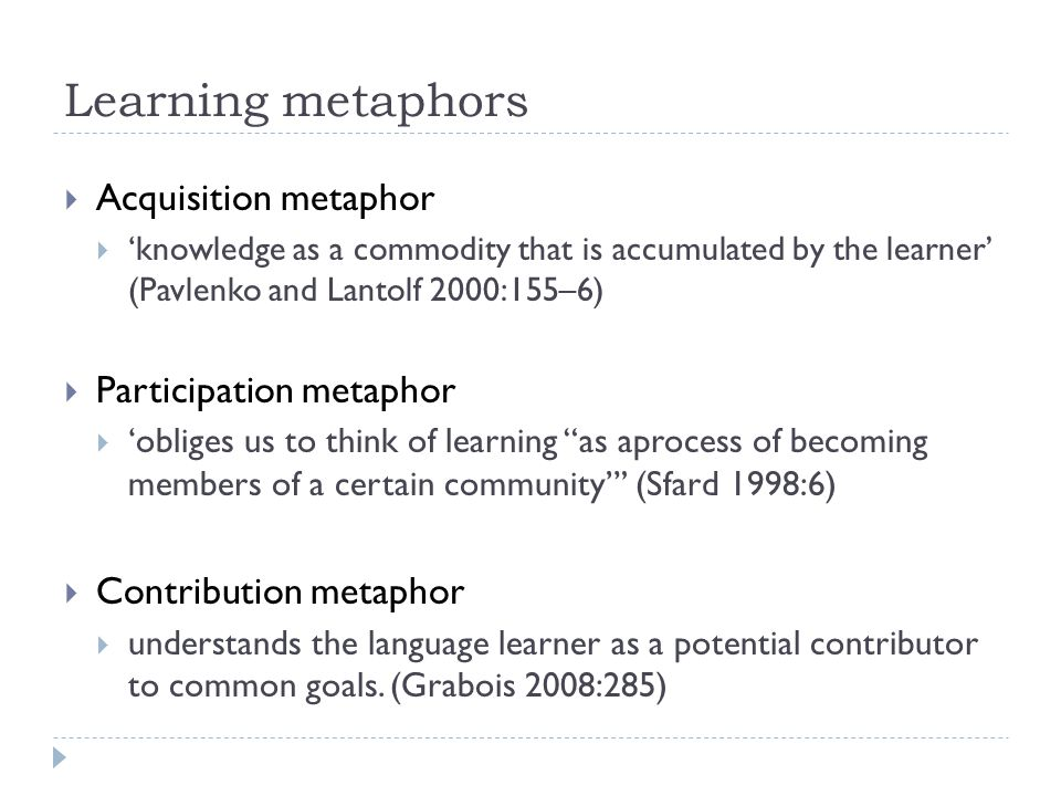 Learning metaphors Acquisition metaphor Participation metaphor