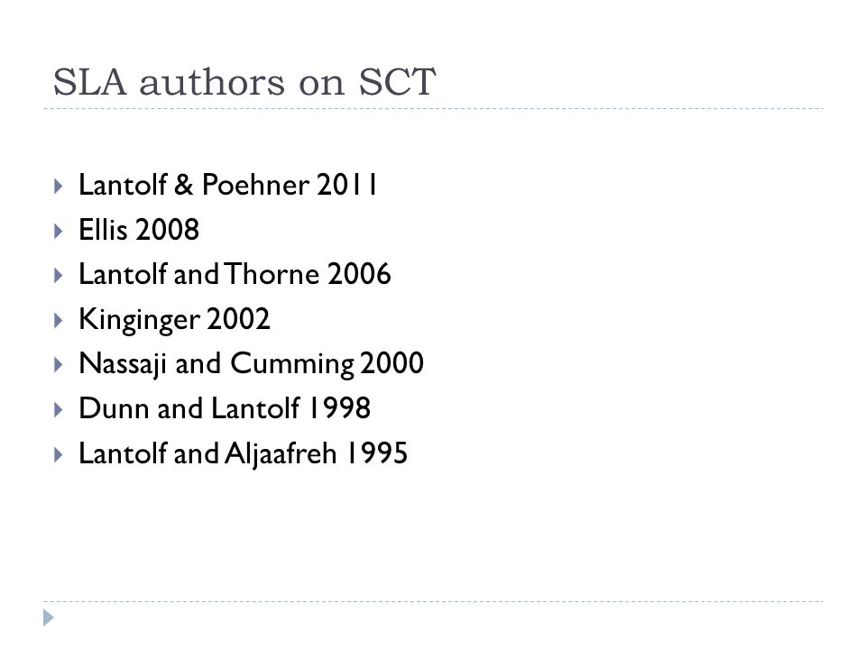 SLA authors on SCT Lantolf & Poehner 2011 Ellis 2008