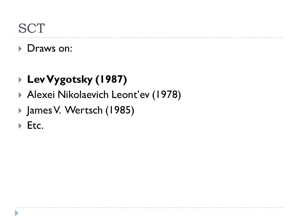 SCT Draws on: Lev Vygotsky (1987) Alexei Nikolaevich Leont'ev (1978)