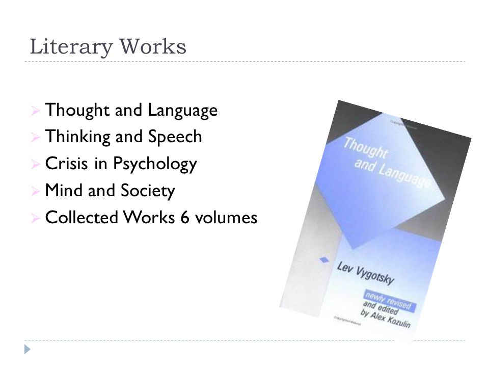 Literary Works Thought and Language Thinking and Speech