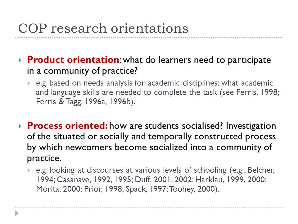 COP research orientations
