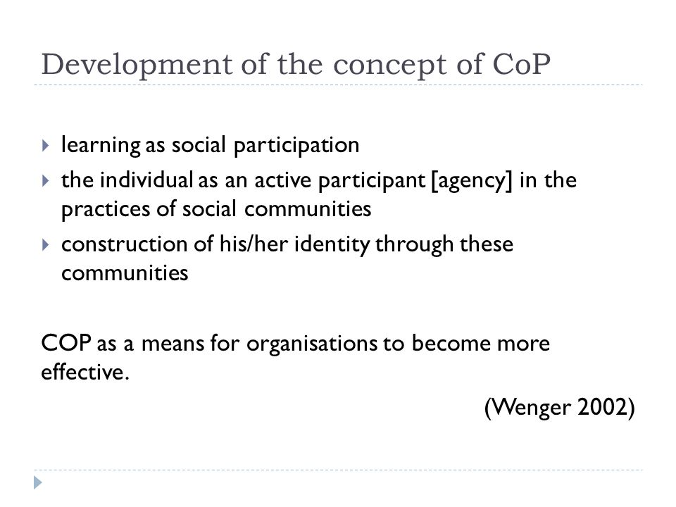Development of the concept of CoP
