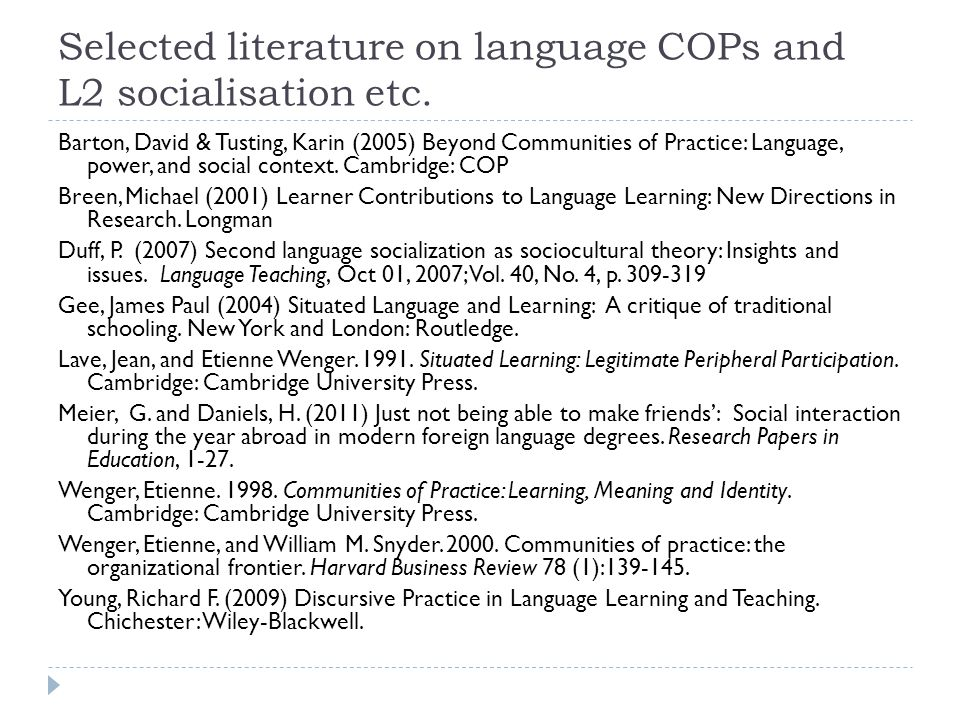 Selected literature on language COPs and L2 socialisation etc.