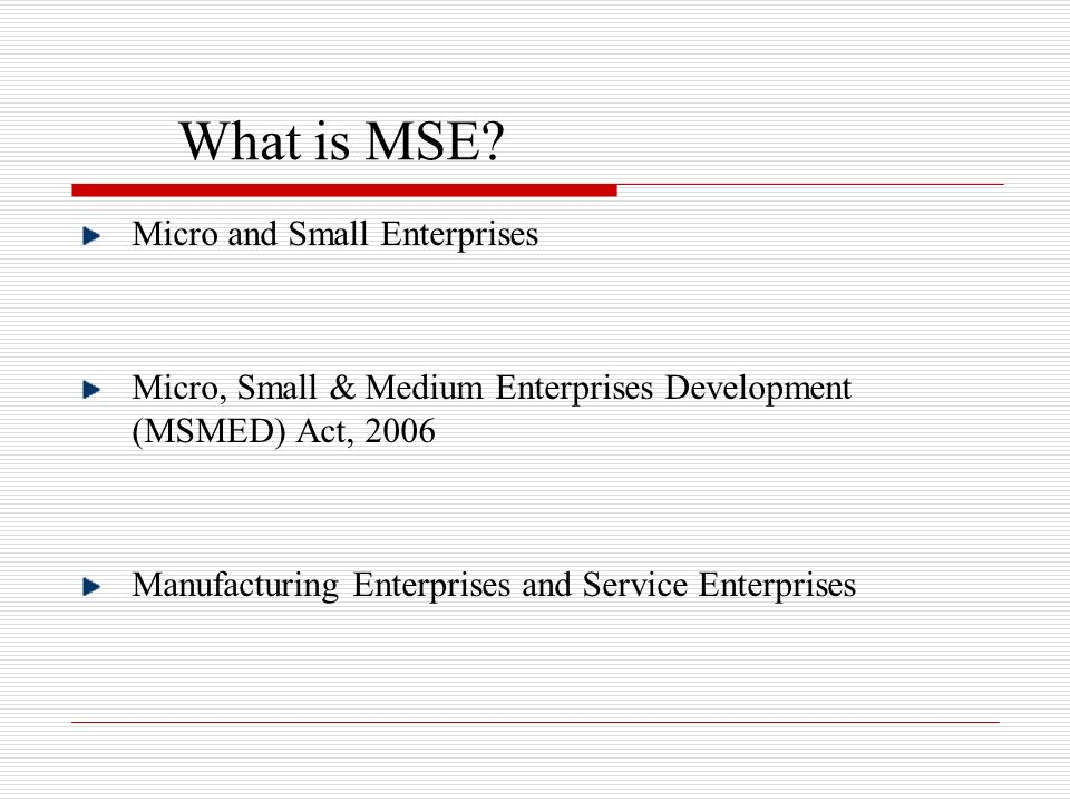 What is MSE Micro and Small Enterprises