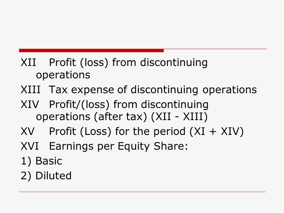 XII Profit (loss) from discontinuing operations