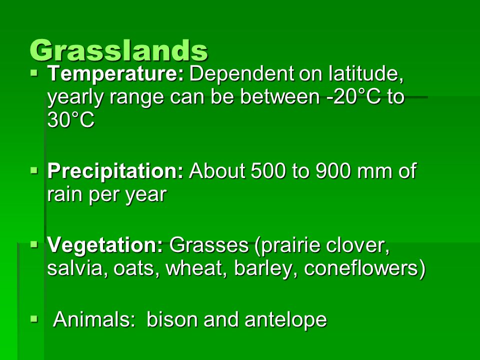 Grasslands Temperature: Dependent on latitude, yearly range can be between -20°C to 30°C Precipitation: About 500 to 900 mm of rain per year
