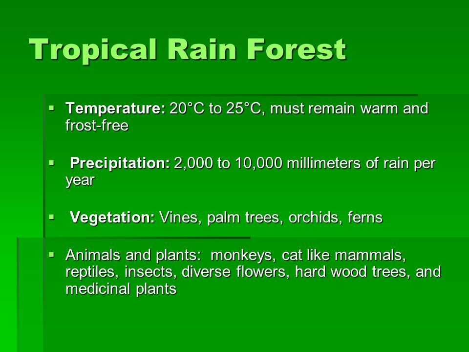 Tropical Rain Forest Temperature: 20°C to 25°C, must remain warm and frost-free. Precipitation: 2,000 to 10,000 millimeters of rain per year.