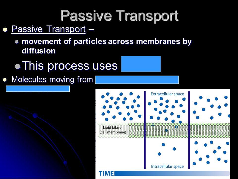 Passive Transport This process uses no ATP Passive Transport –
