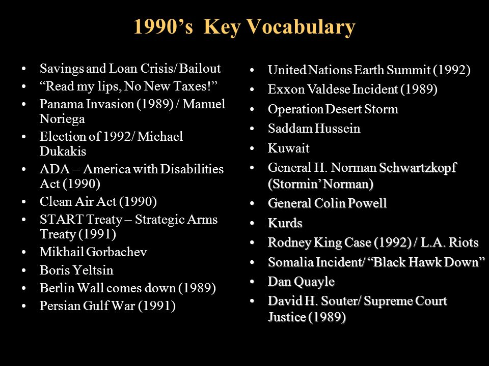 1990's Key Vocabulary Election of 1796