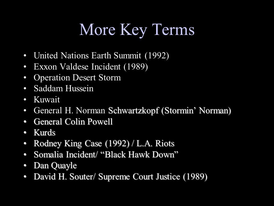 More Key Terms United Nations Earth Summit (1992)