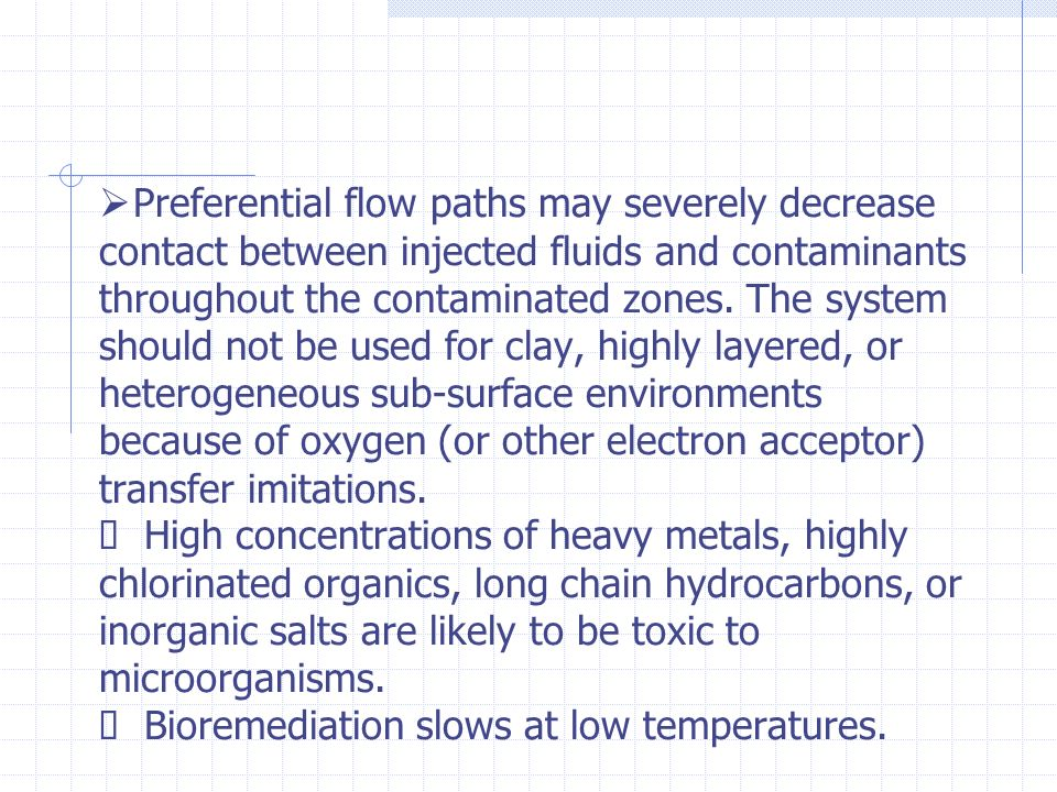 Preferential flow paths may severely decrease contact between injected fluids and contaminants throughout the contaminated zones.