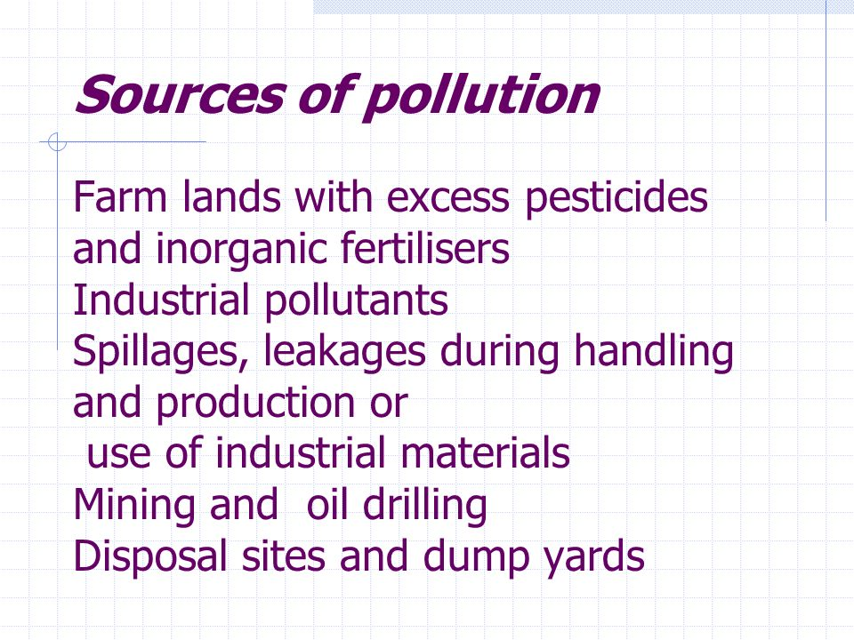 Sources of pollution Farm lands with excess pesticides and inorganic fertilisers Industrial pollutants Spillages, leakages during handling and production or use of industrial materials Mining and oil drilling Disposal sites and dump yards