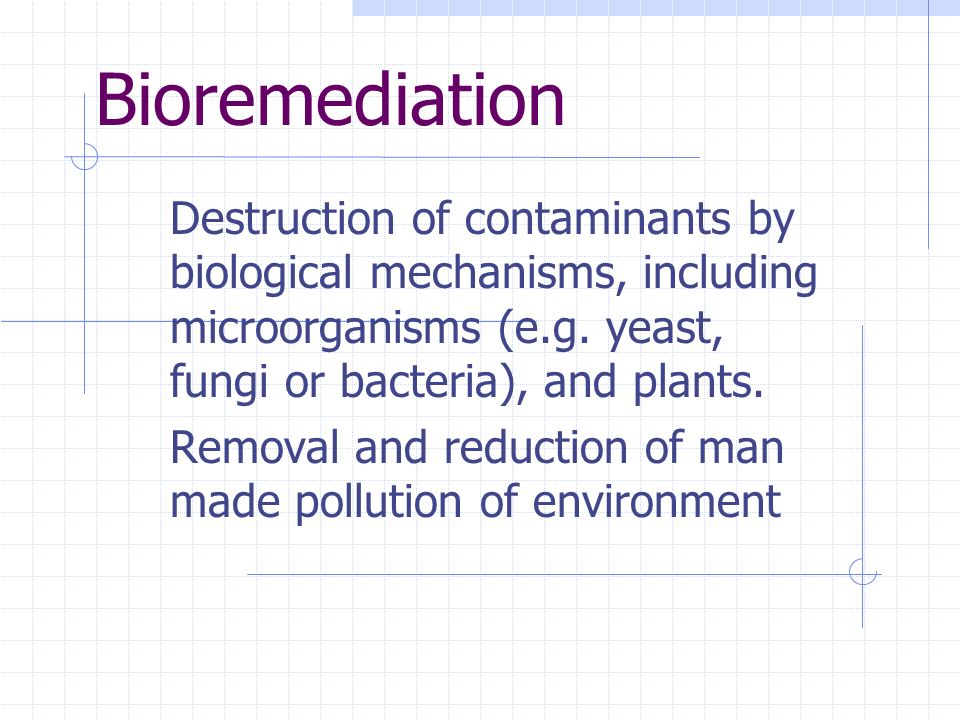 Bioremediation Destruction of contaminants by biological mechanisms, including microorganisms (e.g. yeast, fungi or bacteria), and plants.