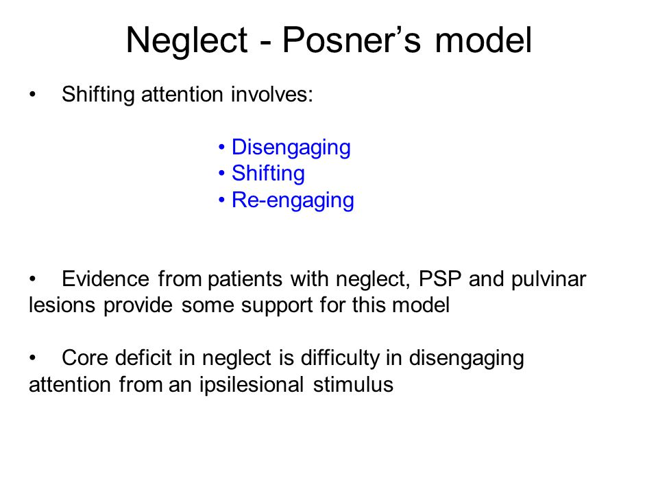Neglect - Posner's model
