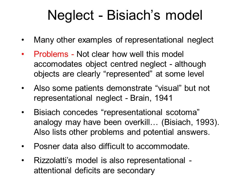 Neglect - Bisiach's model