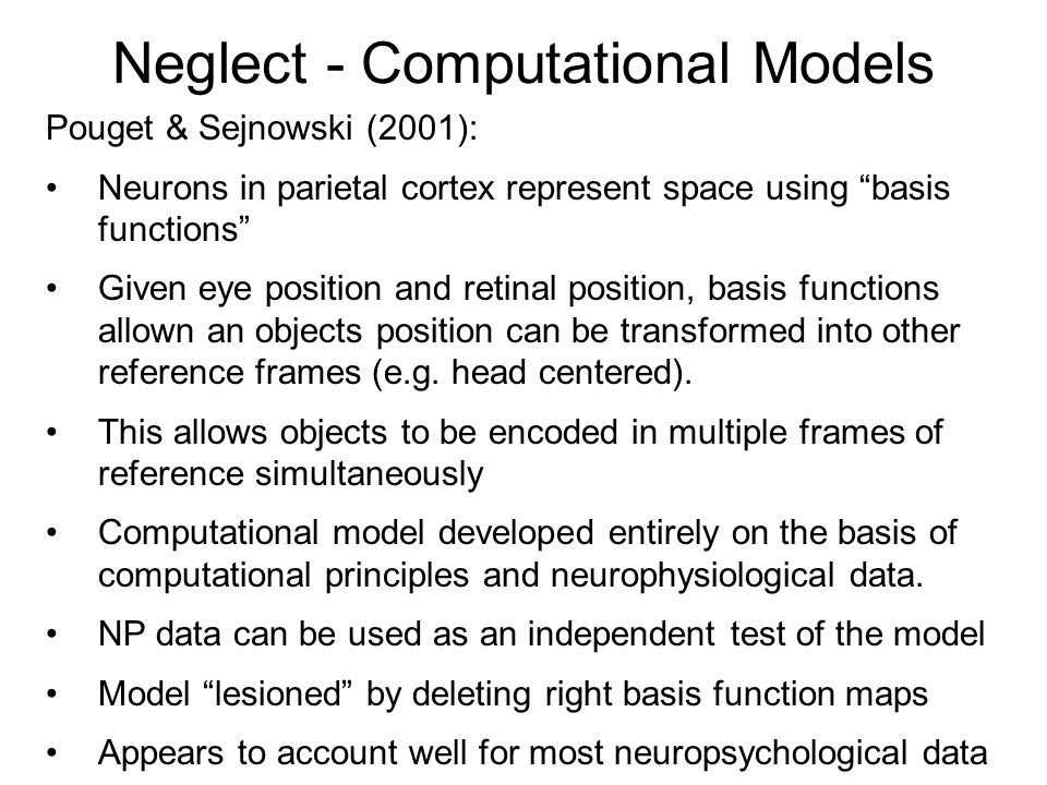 Neglect - Computational Models