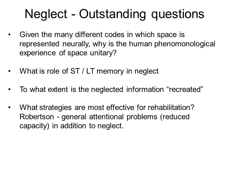 Neglect - Outstanding questions