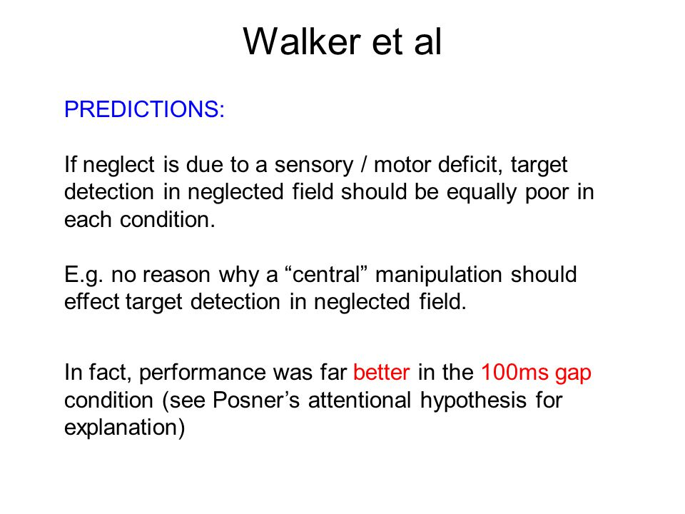Walker et al PREDICTIONS: