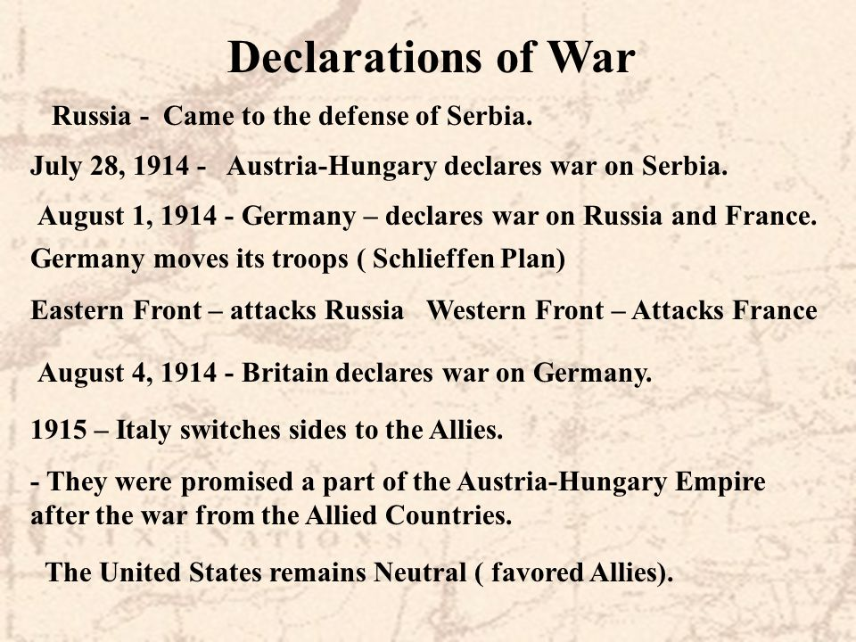 Declarations of War Russia - Came to the defense of Serbia.