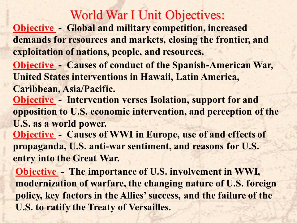 World War I Unit Objectives:
