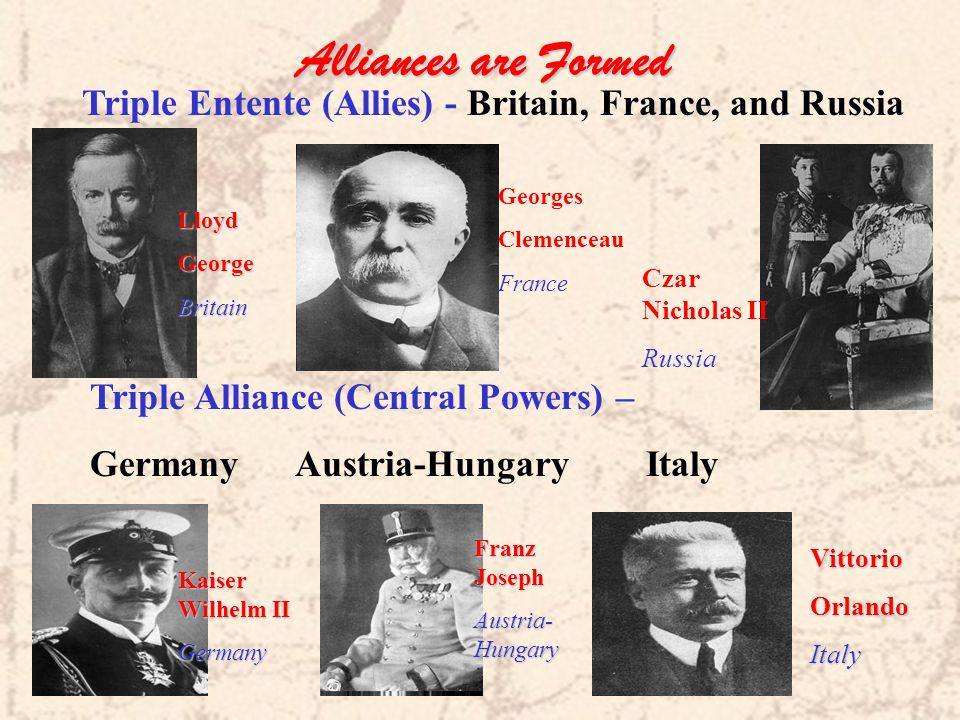 Alliances are Formed Triple Entente (Allies) - Britain, France, and Russia. Georges. Clemenceau. France.