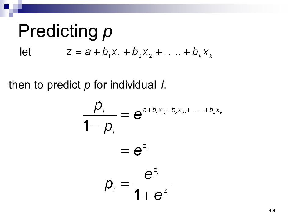 Predicting p let then to predict p for individual i,