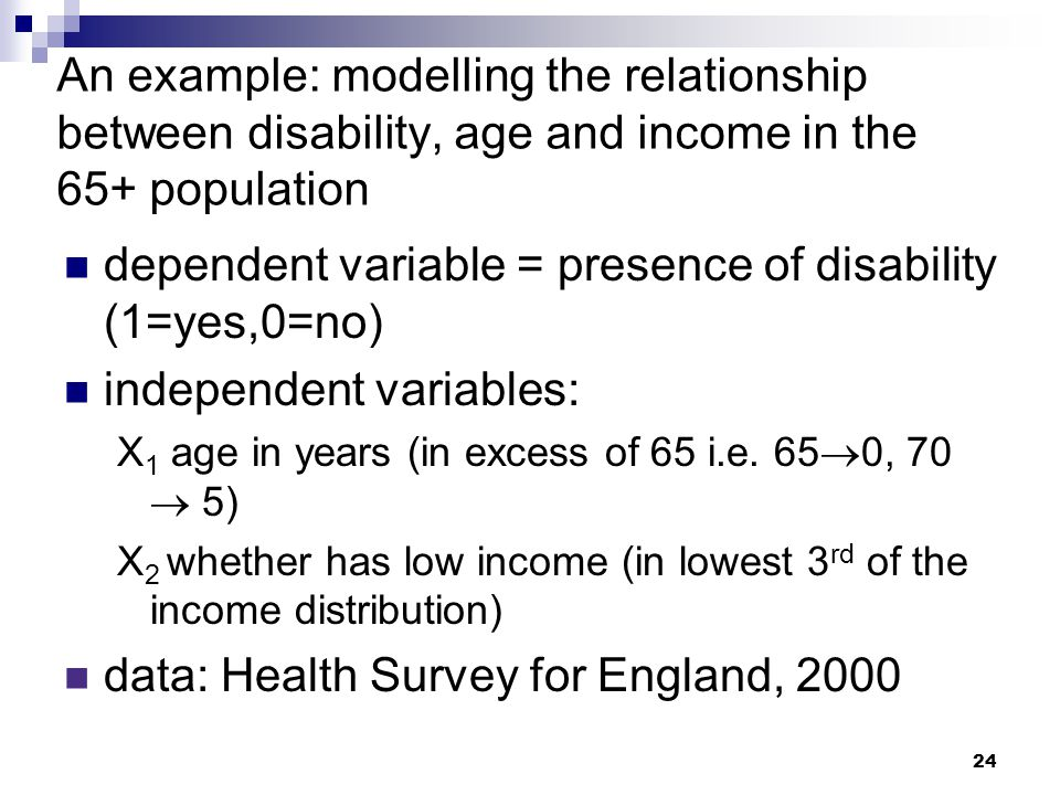 dependent variable = presence of disability (1=yes,0=no)