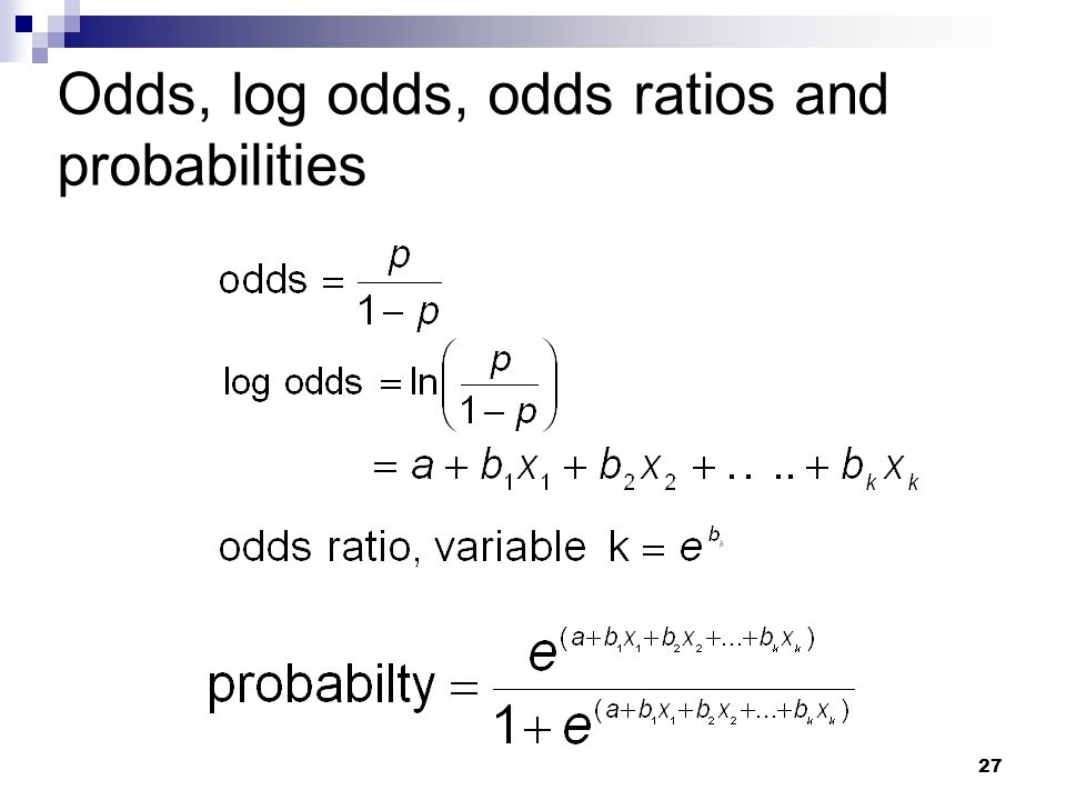 Odds, log odds, odds ratios and probabilities