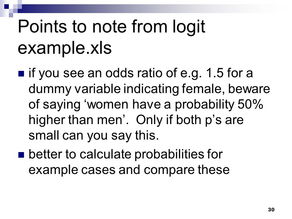 Points to note from logit example.xls