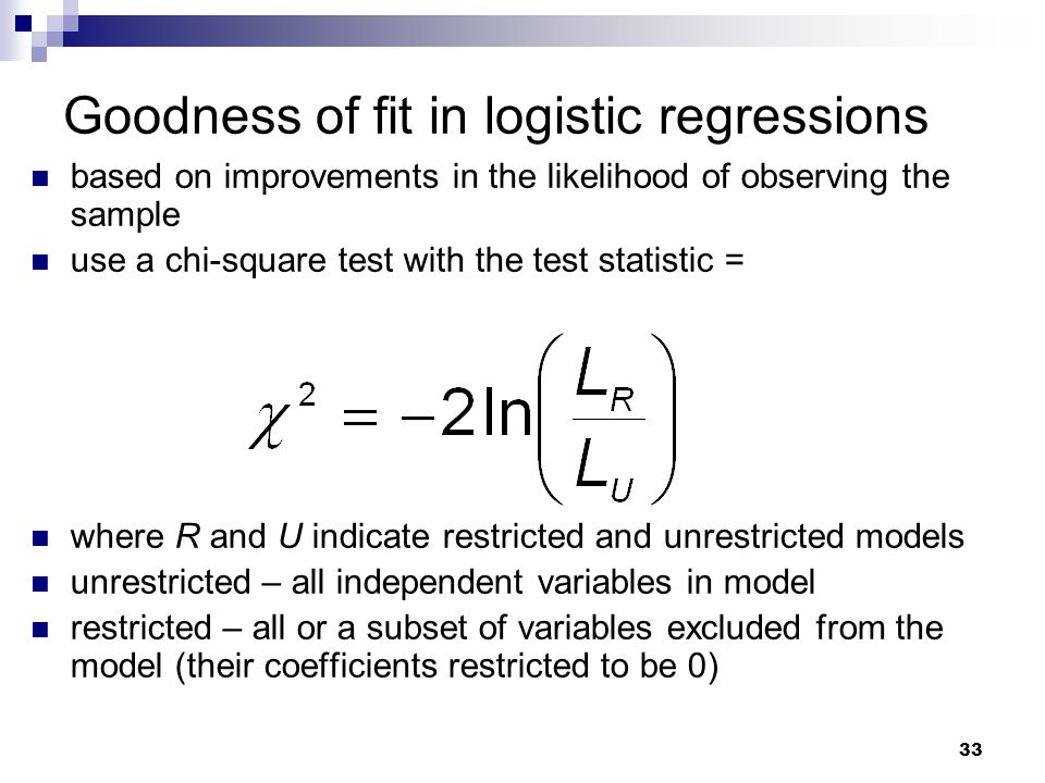 Goodness of fit in logistic regressions