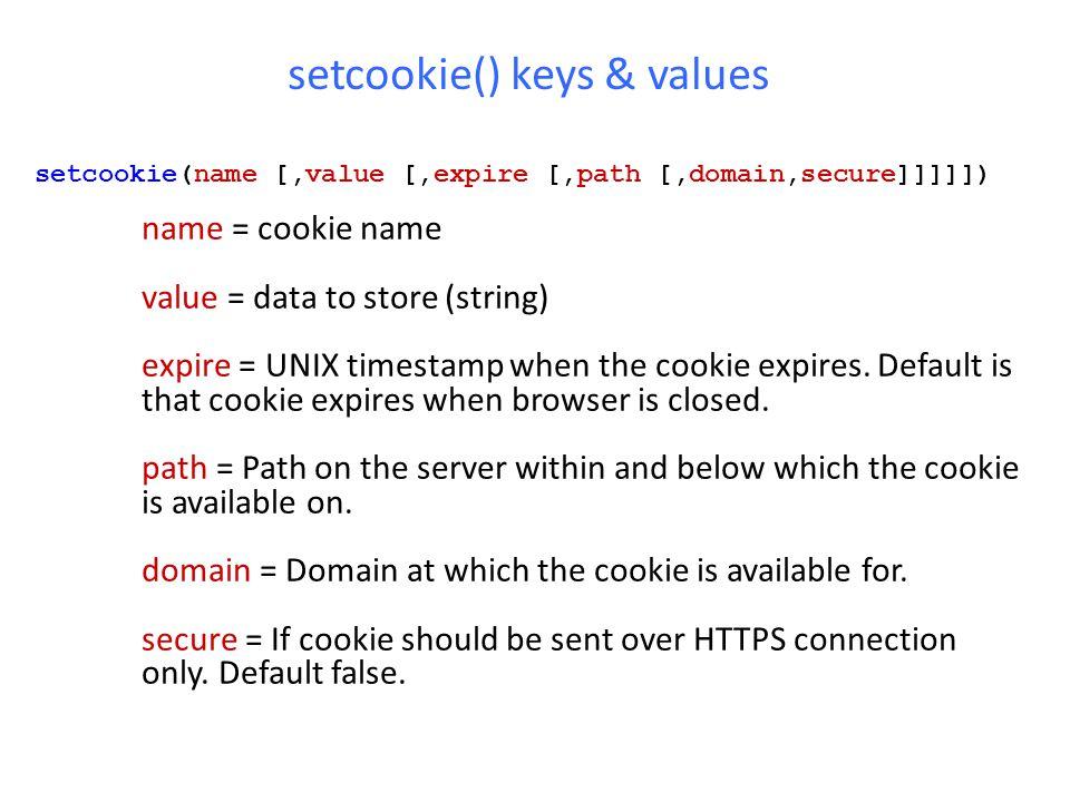 setcookie() keys & values