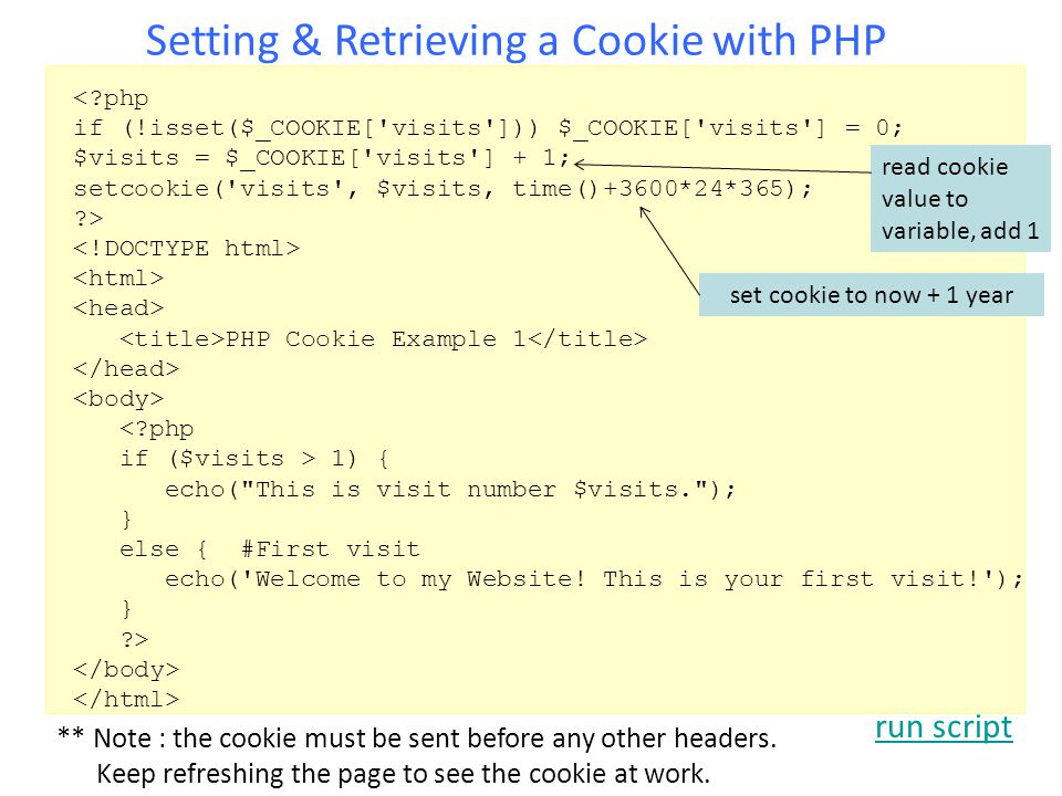 Setting & Retrieving a Cookie with PHP