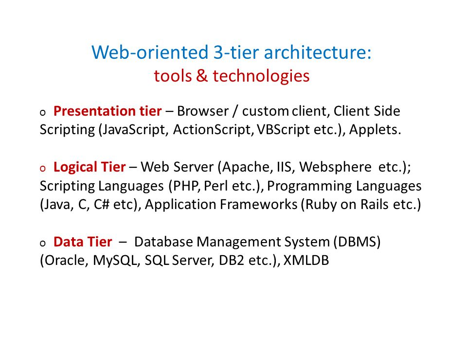 Web-oriented 3-tier architecture: tools & technologies