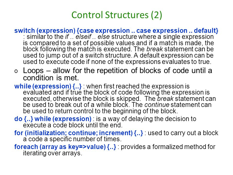 Control Structures (2)