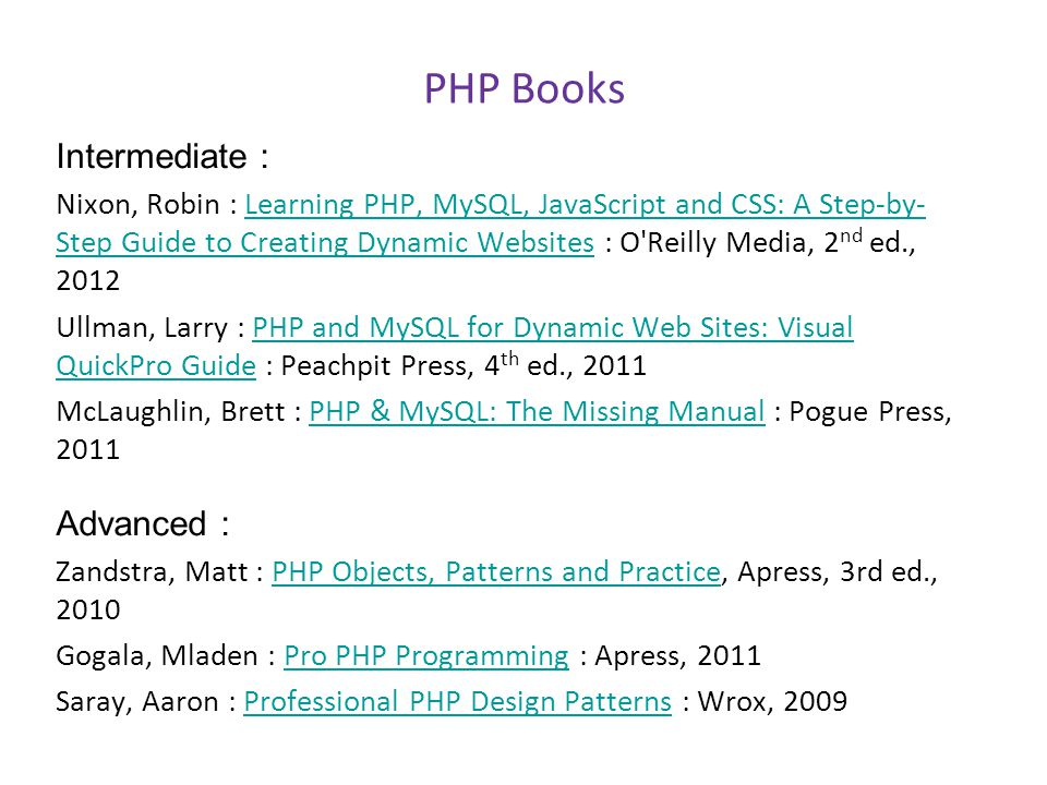 PHP Books Intermediate : Advanced :