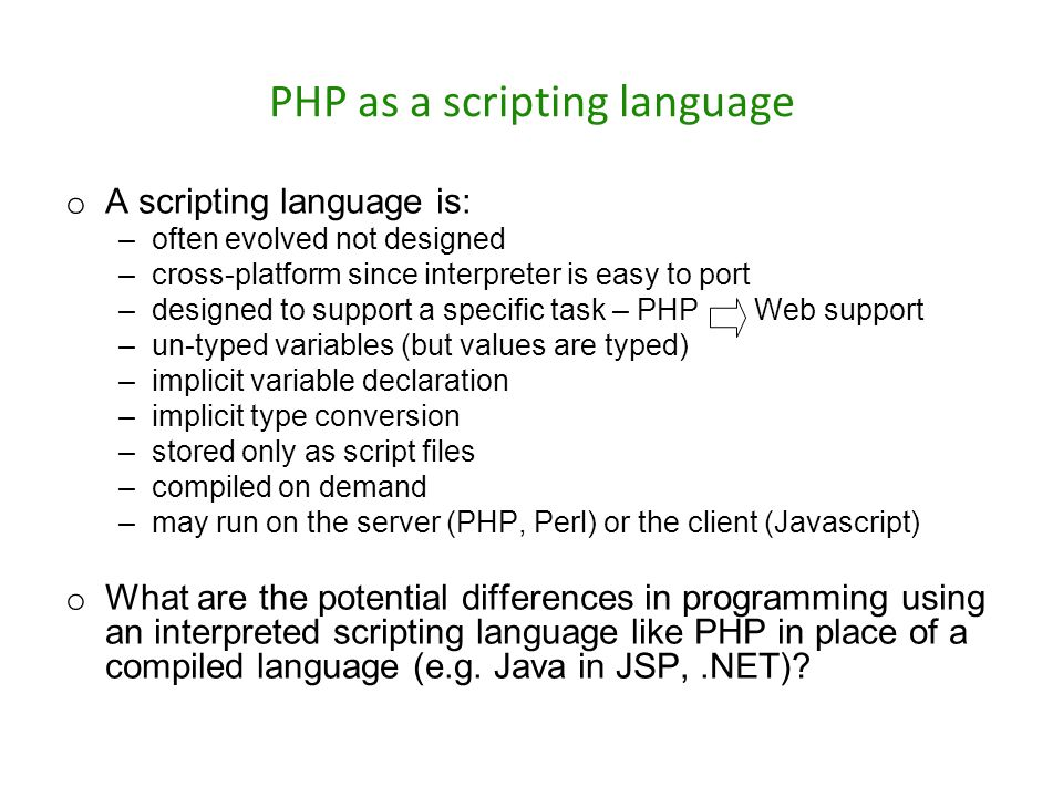 PHP as a scripting language