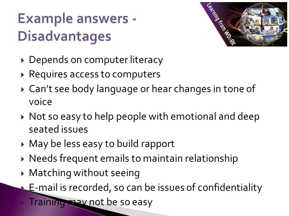 Example answers - Disadvantages