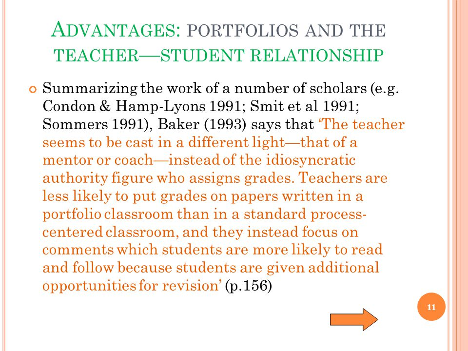 Advantages: portfolios and the teacher—student relationship