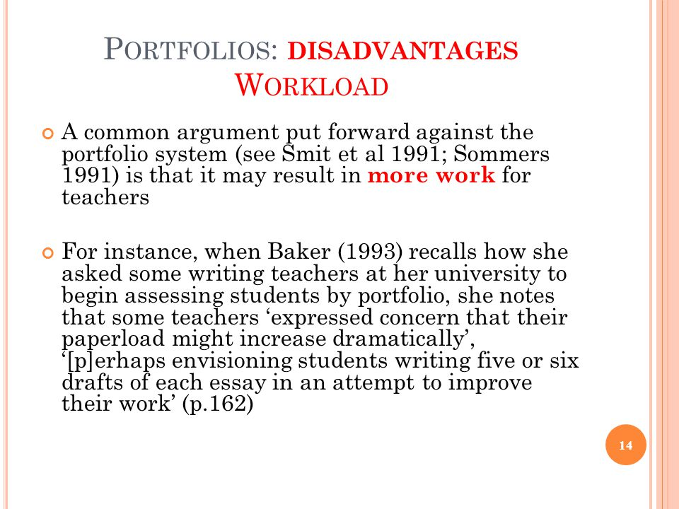 Portfolios: disadvantages Workload