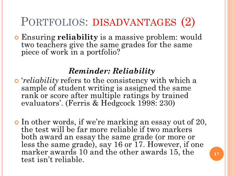 Portfolios: disadvantages (2)