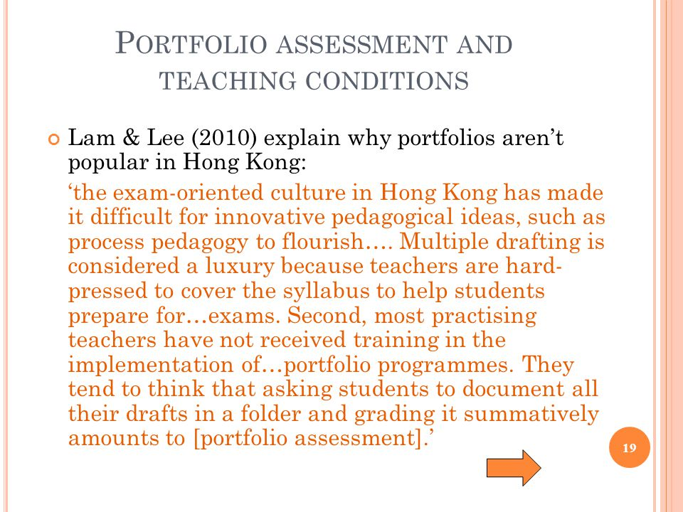 Portfolio assessment and teaching conditions